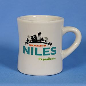 Coffee mug with Village of Niles logo