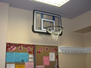 New Basketball Hoop in the foyer
