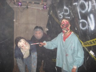 Teens acting in the Haunted Garage