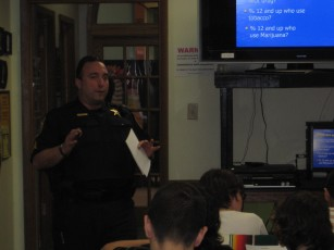 Sergeant Tornabene addresses issues regarding drugs and alcohol with teens